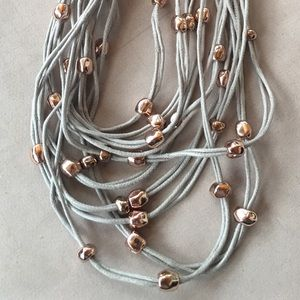 Jewelry - Leather and metal multi stranded necklace